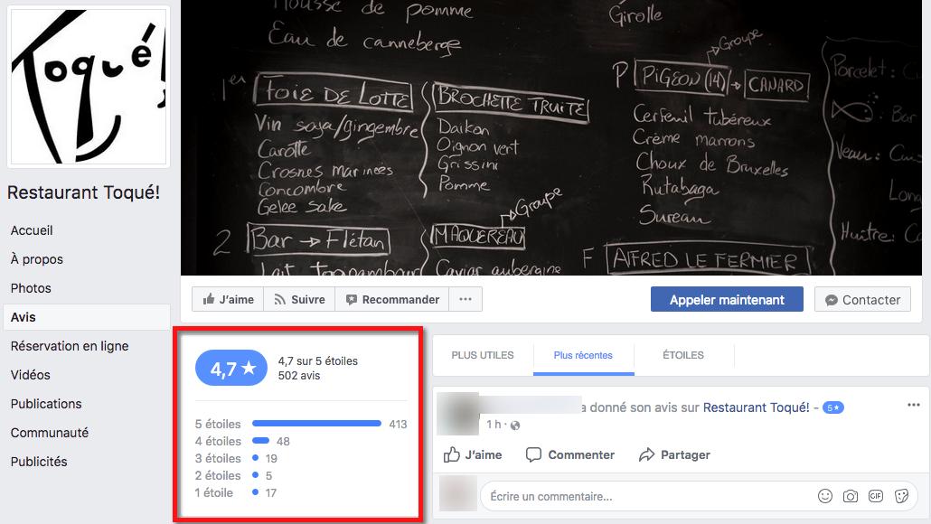 Exemple d'avis laissés sur la page Facebook du restaurant Toqué!