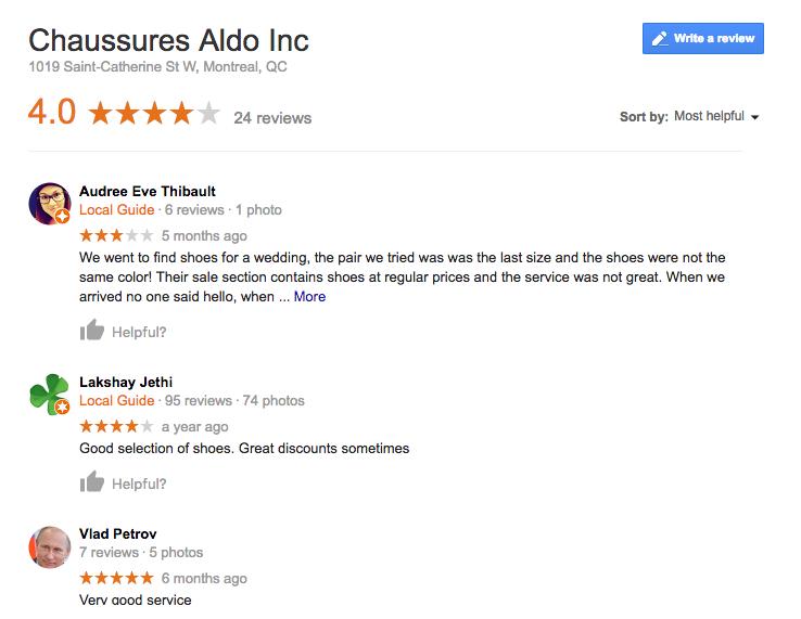 Exemple d'avis laissés sur Google: Chaussures Aldo